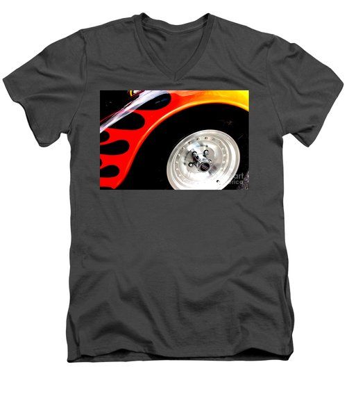 Men's V-Neck T-Shirt featuring the digital art Curves Of Flames by Tony Cooper