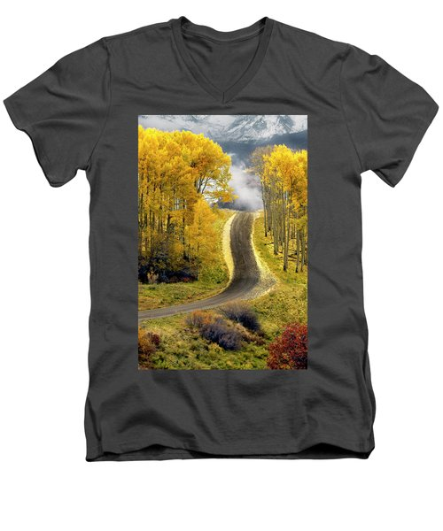 Cutting Through The Aspens Men's V-Neck T-Shirt