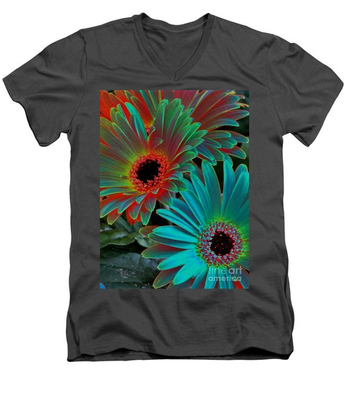Daisies From Another Dimension Men's V-Neck T-Shirt by Rory Sagner