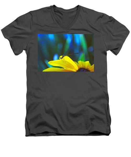 Daisy And Dragonfly Men's V-Neck T-Shirt by Kay Lovingood