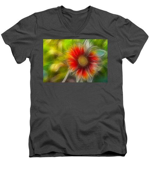 Men's V-Neck T-Shirt featuring the photograph Dalia Pseudo Fractal by Lynne Jenkins