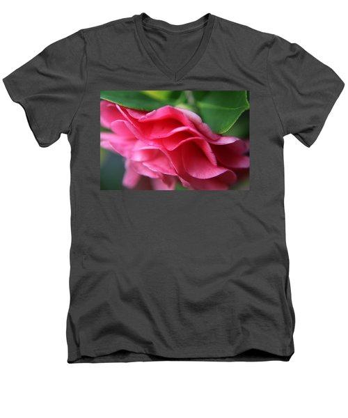 Dancing Petals Of The Camellia Men's V-Neck T-Shirt