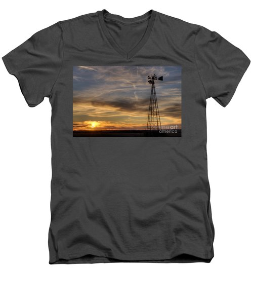 Dark Sunset With Windmill Men's V-Neck T-Shirt