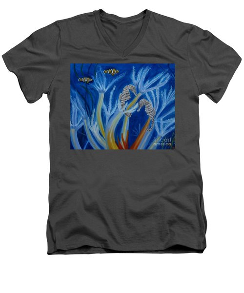 Men's V-Neck T-Shirt featuring the painting Date Night On The Reef by Julie Brugh Riffey