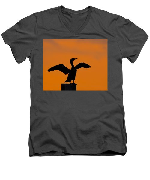 Dawn Of A Double-crested Cormorant  Men's V-Neck T-Shirt