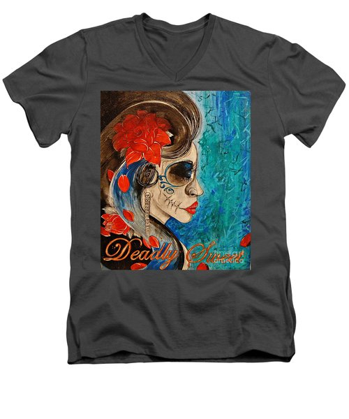 Deadly Sweet Men's V-Neck T-Shirt by Sandro Ramani