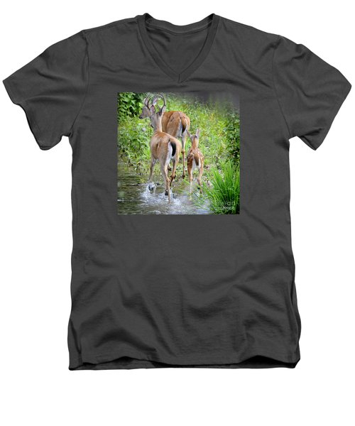 Men's V-Neck T-Shirt featuring the photograph Deer Running In Stream by Nava Thompson