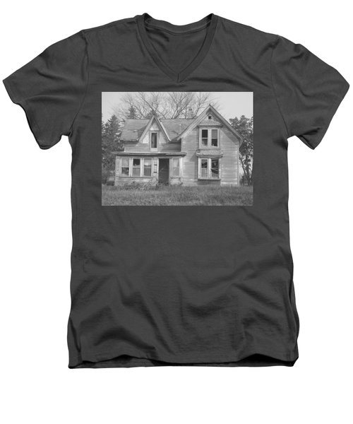 Men's V-Neck T-Shirt featuring the photograph Defiance B/w by Bonfire Photography