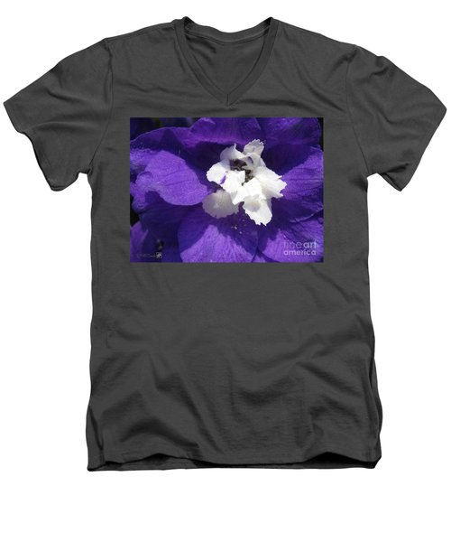 Men's V-Neck T-Shirt featuring the photograph Delphinium Named Blue With White Bee by J McCombie