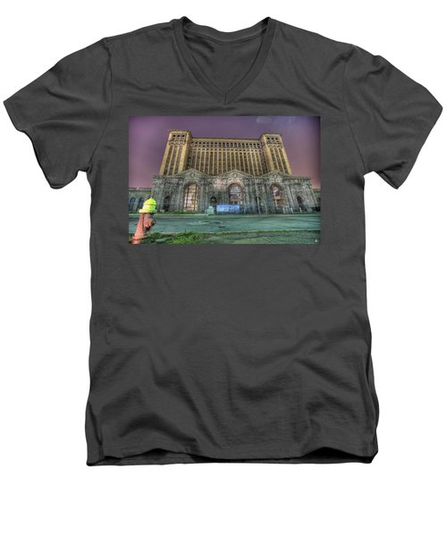 Detroit's Michigan Central Station - Michigan Central Depot Men's V-Neck T-Shirt by Nicholas  Grunas