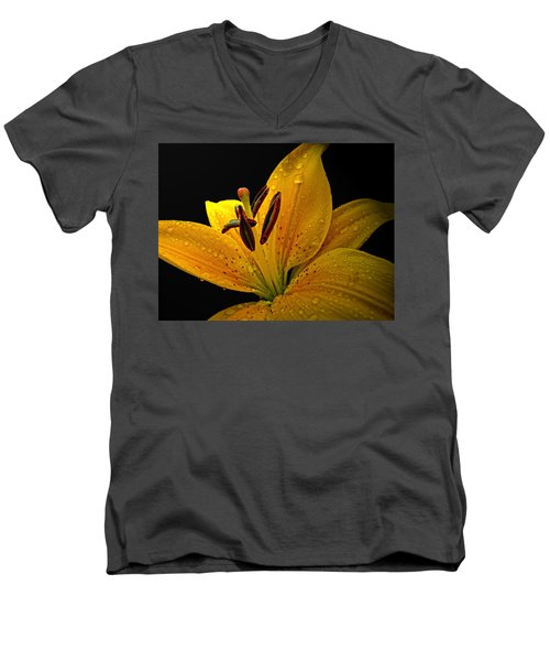 Men's V-Neck T-Shirt featuring the photograph Dew On The Daylily by Debbie Portwood