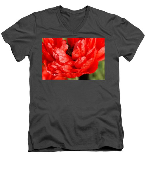 Men's V-Neck T-Shirt featuring the photograph Dewdrops by Fotosas Photography