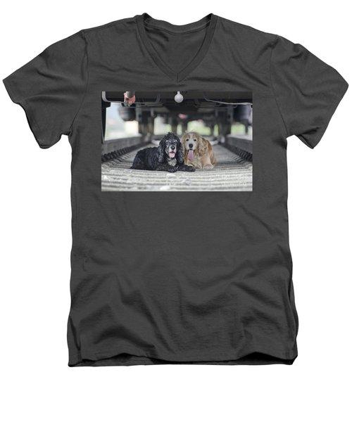 Dogs Lying Under A Train Wagon Men's V-Neck T-Shirt