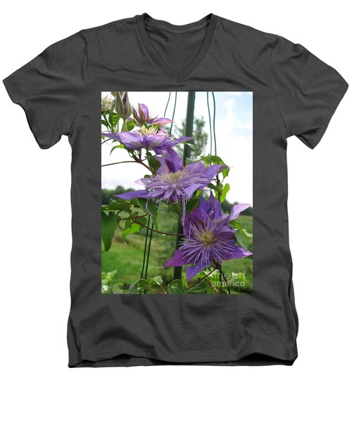 Men's V-Neck T-Shirt featuring the photograph Double Clematis Named Crystal Fountain by J McCombie
