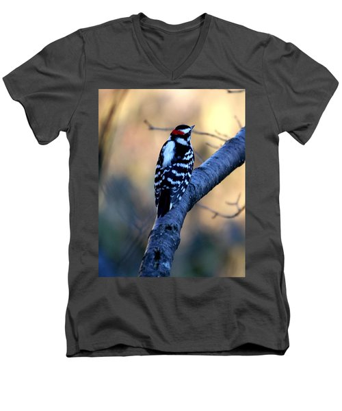 Men's V-Neck T-Shirt featuring the photograph Downy Woodpecker by Elizabeth Winter