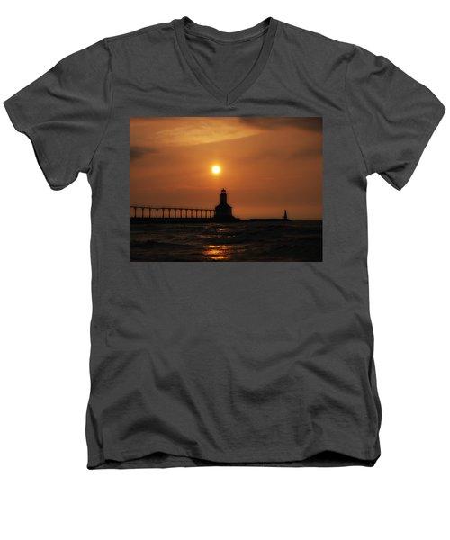 Dreamy Sunset At The Lighthouse Men's V-Neck T-Shirt