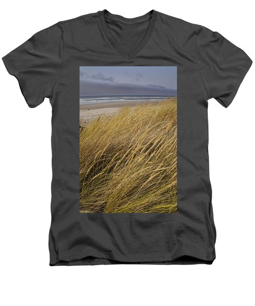 Men's V-Neck T-Shirt featuring the photograph Dune Grass On The Oregon Coast by Mick Anderson
