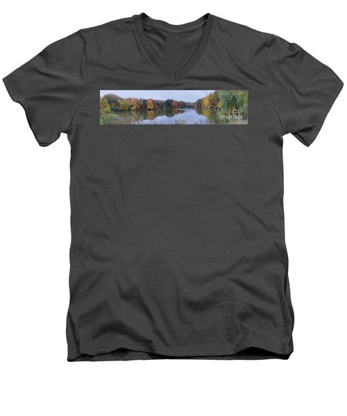 Men's V-Neck T-Shirt featuring the photograph Durand Lake by William Norton
