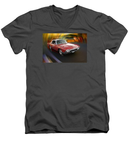 Early 60s Red Thunderbird Men's V-Neck T-Shirt by Mick Anderson