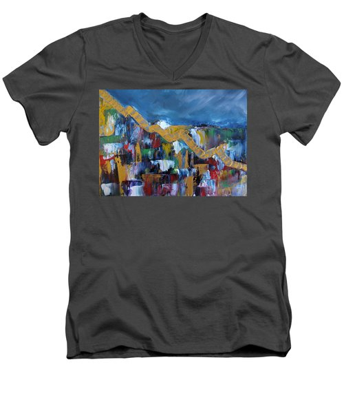 Economic Meltdown Men's V-Neck T-Shirt by Judith Rhue