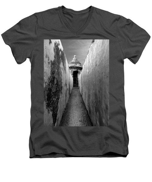 El Morro In Black And White Men's V-Neck T-Shirt