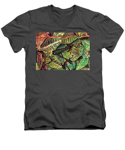 Elena's Crotons Men's V-Neck T-Shirt by Marionette Taboniar