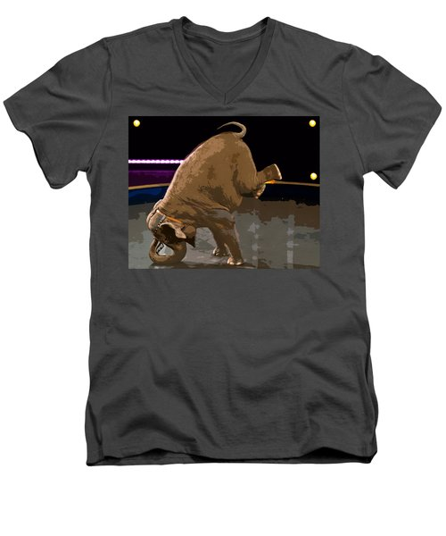 Men's V-Neck T-Shirt featuring the photograph Elephant Perfomance At Circus by Susan Leggett
