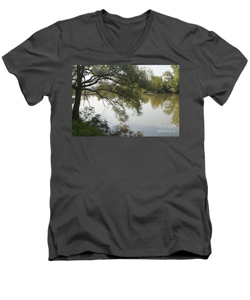 Men's V-Neck T-Shirt featuring the photograph Erie Canal Turning Basin by William Norton