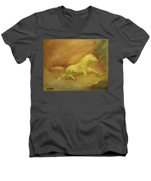 Men's V-Neck T-Shirt featuring the painting Escaping The Flames by George Pedro