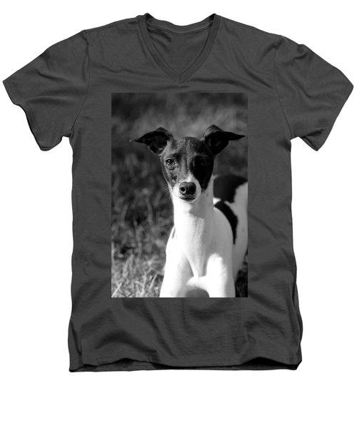 Ethan In Black And White Men's V-Neck T-Shirt