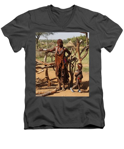 Ethiopia-south Mother And Baby No.2 Detail B Men's V-Neck T-Shirt