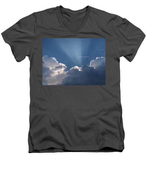Even Through The Clouds You Will Find A Ray Of Sunshine Men's V-Neck T-Shirt