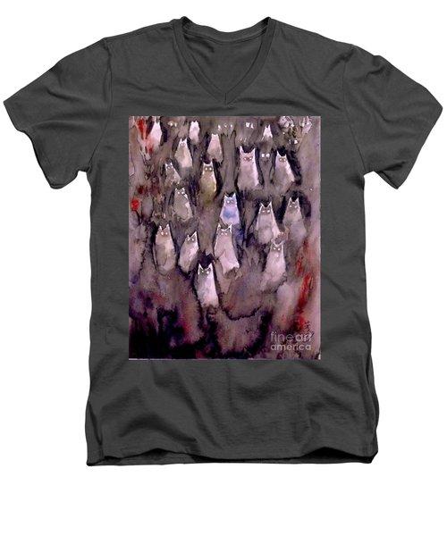 Eyes Are Wathching -2 Men's V-Neck T-Shirt by Yoshiko Mishina