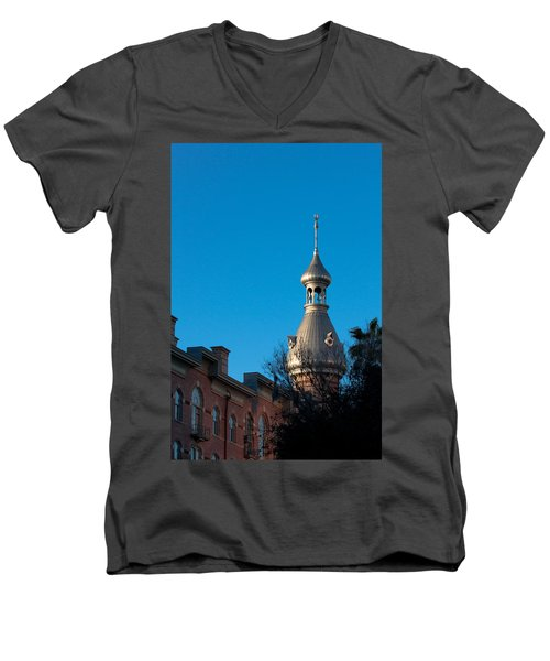Men's V-Neck T-Shirt featuring the photograph Facade And Minaret by Ed Gleichman