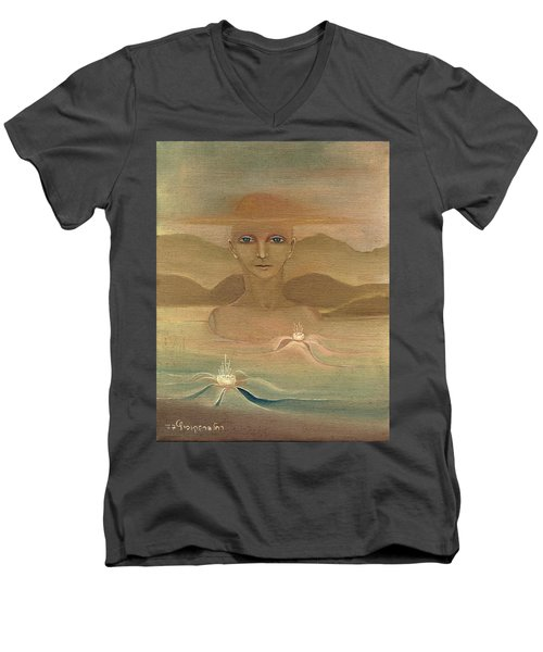 Face From Nature Desert Landscape Abstract Fantasy With Flowers Blue Eyes Yellow Cloud  In Sky  Men's V-Neck T-Shirt by Rachel Hershkovitz