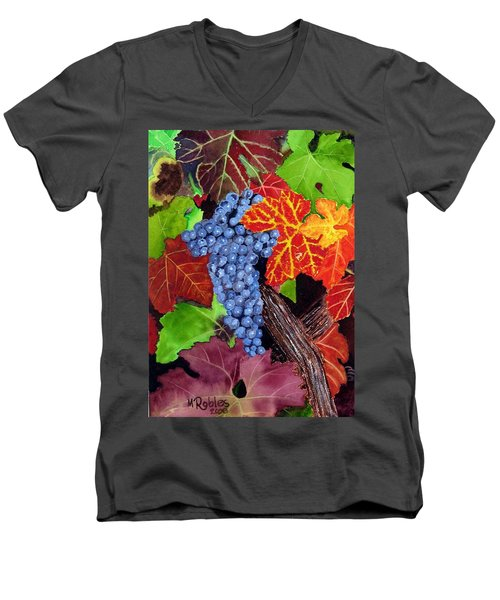 Fall Cabernet Sauvignon Grapes Men's V-Neck T-Shirt by Mike Robles