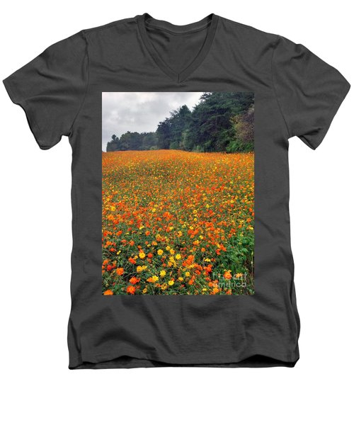 Men's V-Neck T-Shirt featuring the photograph Fall Flowers by Janice Spivey