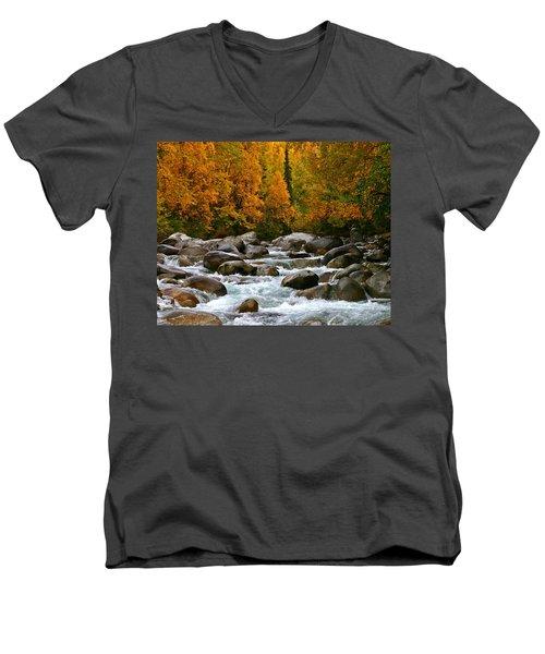 Fall On The Little Susitna River Men's V-Neck T-Shirt