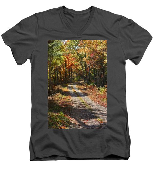 Fall On The Wyrick Trail Men's V-Neck T-Shirt by Denise Romano