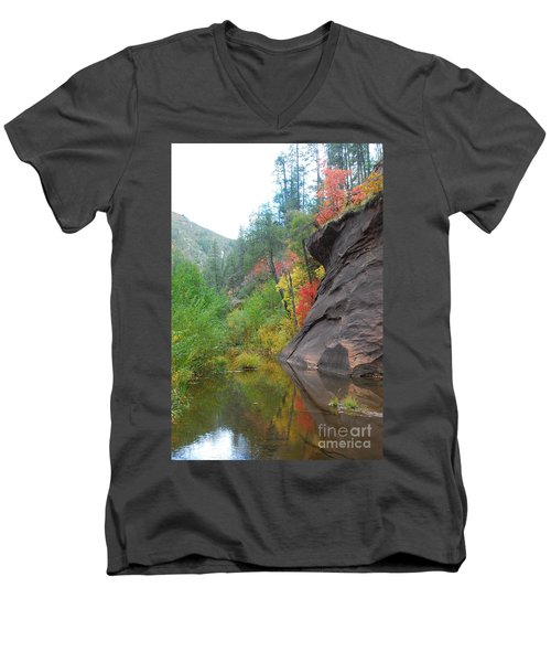 Fall Peeks From Behind The Rocks Men's V-Neck T-Shirt by Heather Kirk