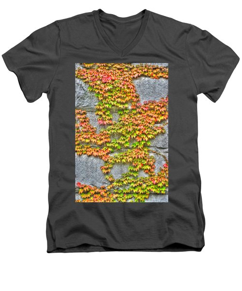 Men's V-Neck T-Shirt featuring the photograph Fall Wall by Michael Frank Jr