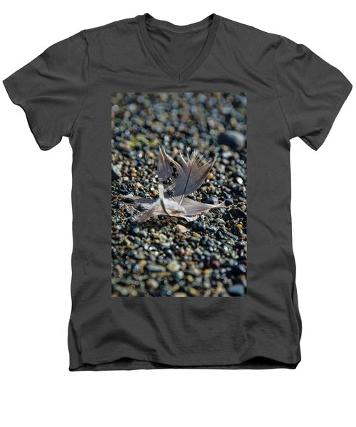 Men's V-Neck T-Shirt featuring the photograph White Feather by Marilyn Wilson
