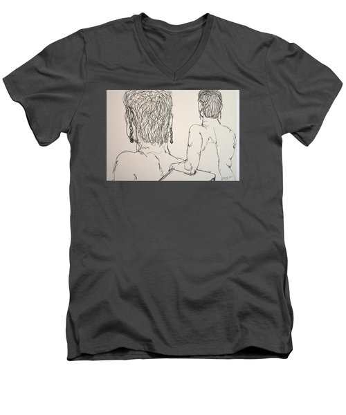 Female Nude Beside Herself Men's V-Neck T-Shirt by Rand Swift
