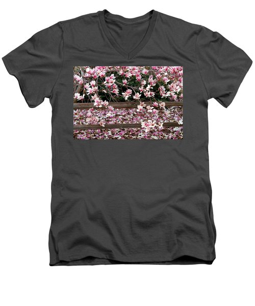 Men's V-Neck T-Shirt featuring the photograph Fence Of Flowers by Elizabeth Winter