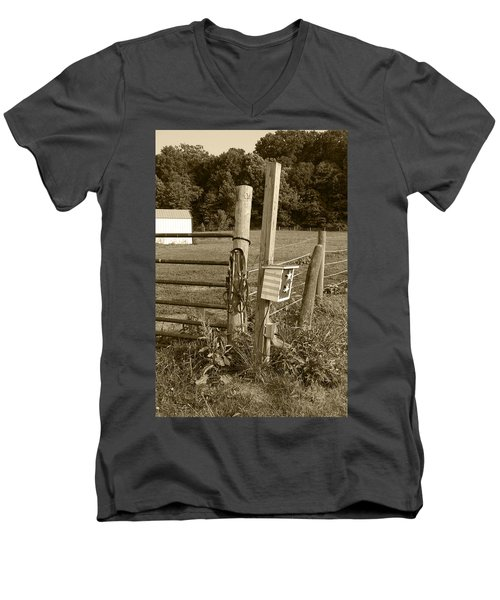 Men's V-Neck T-Shirt featuring the photograph Fence Post by Jennifer Ancker
