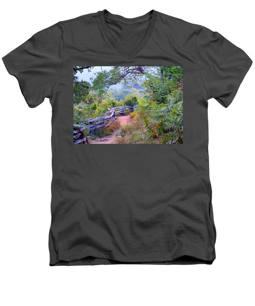 Fence To The Blueberries Filtered Men's V-Neck T-Shirt