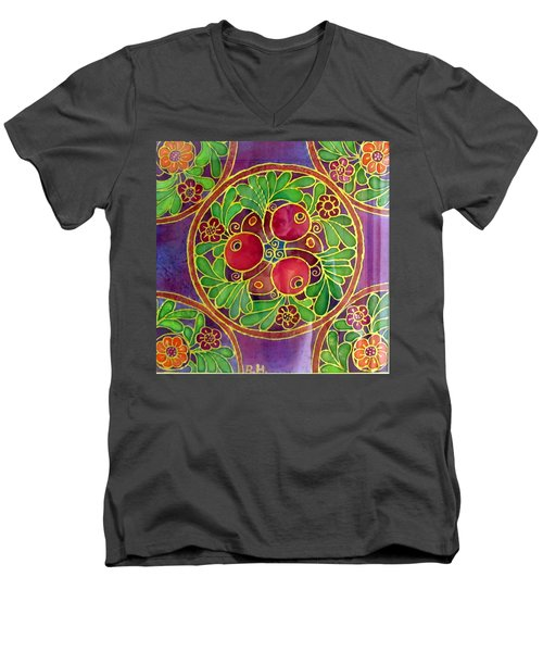 Festive Pomegranates In Gold And Vivid Colors Wall Decor In Red Green Purple Branch Leaves Flowers Men's V-Neck T-Shirt by Rachel Hershkovitz
