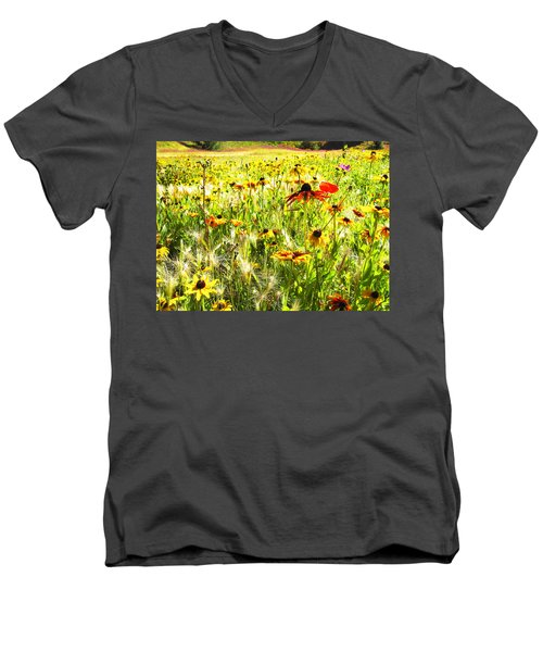 Field Of Bright Colorful Wildflowers Men's V-Neck T-Shirt