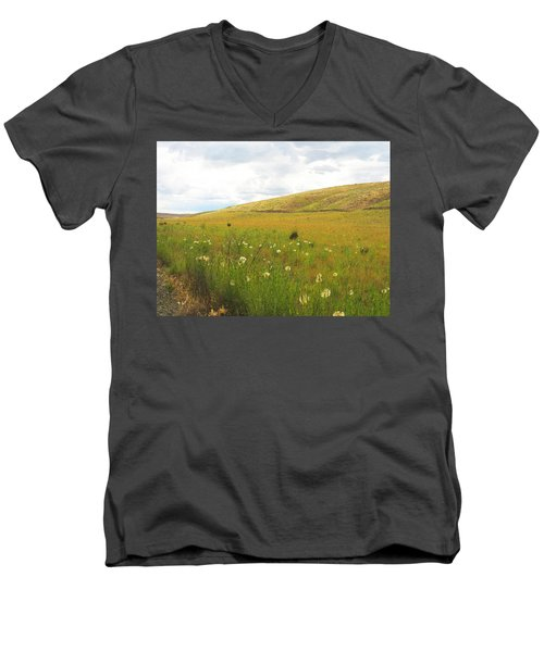 Men's V-Neck T-Shirt featuring the photograph Field Of Dandelions by Anne Mott