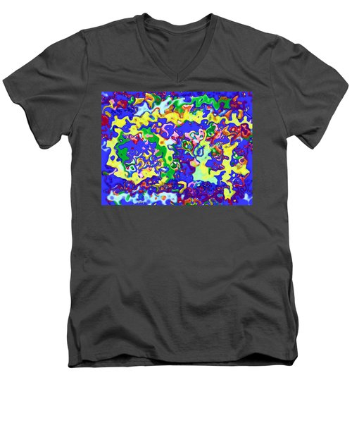 Men's V-Neck T-Shirt featuring the digital art Fiesta In San Antonio by Alec Drake
